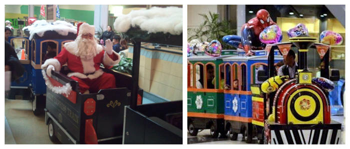 Trackless train ride in malls on Children's day and Christmas Day