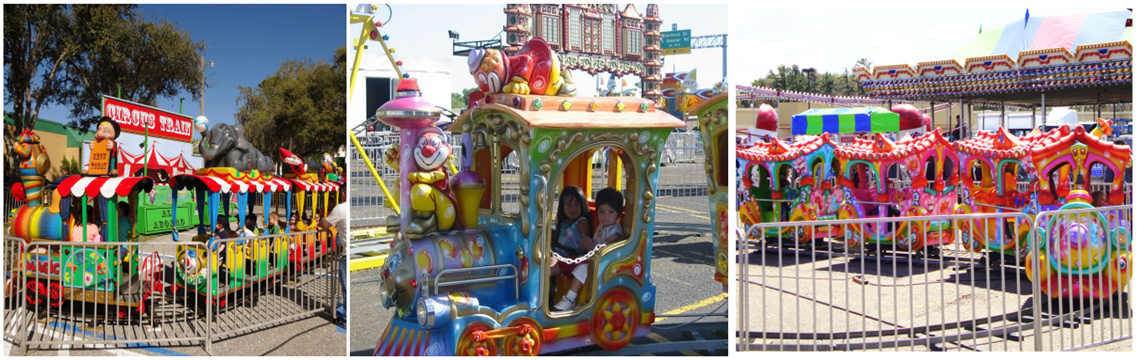 Circus Train - Carnival Ride featuring various circus animals, clowns, and characters