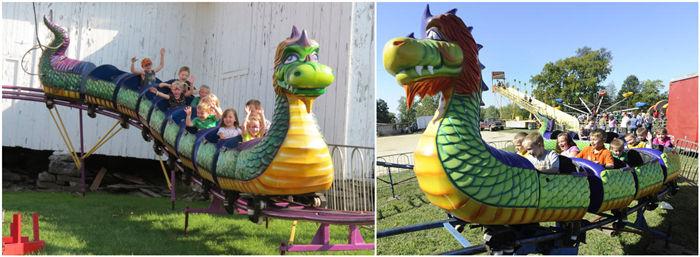 portable roller coaster dragon wagon carnival ride